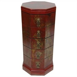 Oriental Furniture Octagonal Accent Chest in Red