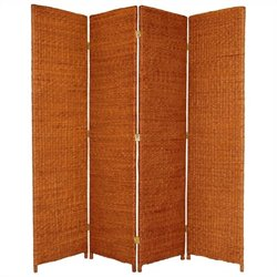 Oriental Furniture 6' Tall 4 Panel Room Divider in Honey