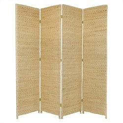 Oriental Furniture 6' Tall 4 Panel Room Divider in Natural