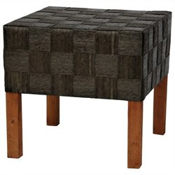 Oriental Furniture Woven Stool in Black