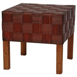 Oriental Furniture Woven Stool in Mahogany