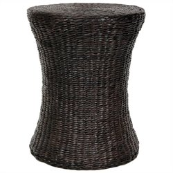 Oriental Furniture Hour Glass Shaped Stool in Black