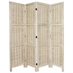 Oriental Bamboo Matchstick 4 Panel Room Divider in White
