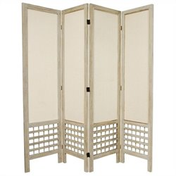 Oriental Furniture Tall Open Lattice 4 Panel Room Divider in White