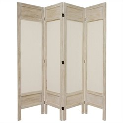 Oriental Furniture Tall Solid Frame 4 Panel Room Divider in White
