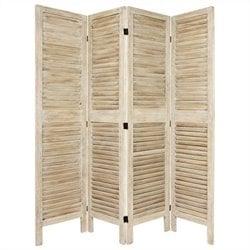 Oriental Furniture Tall Classic Venetian 4 Panel Room Divider in White