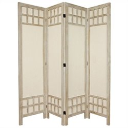 Oriental Furniture Tall Window Pane 4 Panel Room Divider in White