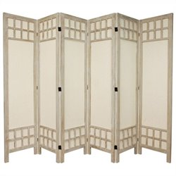 Oriental Furniture Tall Window Pane 6 Panel Room Divider in White