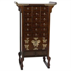 Oriental Korean 18 Drawer Herbal Medicine Accent Chest in Rosewood
