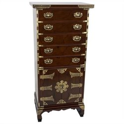 Oriental Furniture Korean Antique Style Accent Chest in Rosewood