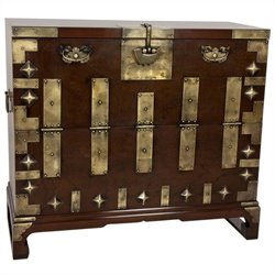 Oriental Korean Bandaji Antique Style Blanket Accent Chest in Rosewood
