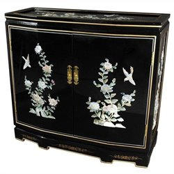 Oriental Furniture Floral Slant Front Accent Chest in Black