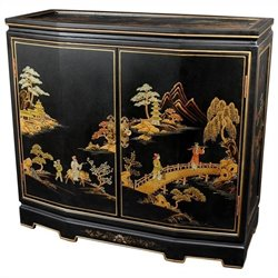Oriental Furniture Japanese Slant Front Accent Chest in Black