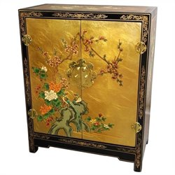 Oriental Furniture Gold Leaf Accent Chest in Gold