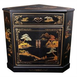 Oriental Furniture Japanese Corner Accent Chest in Black