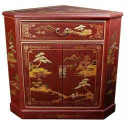 Oriental Furniture Japanese Corner Accent Chest in Red