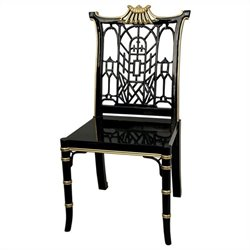 Oriental Furniture Pagoda Chair in Black