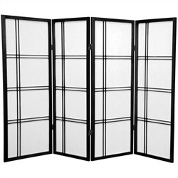 Oriental Furniture 4' Tall Shoji Screen with 4 Panel in Black