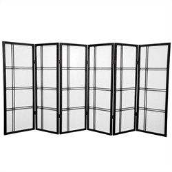 Oriental Furniture 4' Tall Shoji Screen with 6 Panel in Black