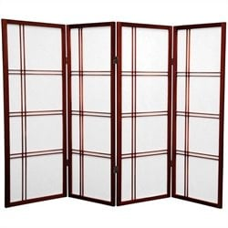 Oriental Furniture 4' Tall Shoji Screen with 4 Panel in Rosewood