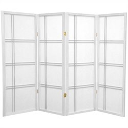 Oriental Furniture 4' Tall Shoji Screen with 4 Panel in White