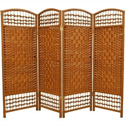 Oriental Fiber Weave Room Divider with 4 Panel in Dark Beige