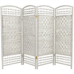 Oriental Fiber Weave Room Divider with 4 Panel in White