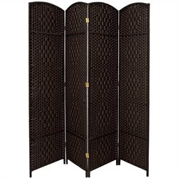 Oriental Diamond Weave Room Divider with 4 Panel in Black