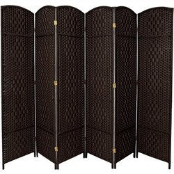Oriental Diamond Weave Room Divider with 6 Panel in Black