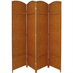 Oriental Diamond Weave Room Divider with 4 Panel in Dark Beige