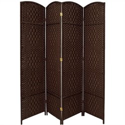 Oriental Diamond Weave Room Divider with 4 Panel in Dark Mocha
