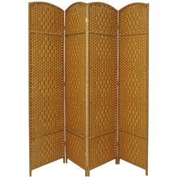 Oriental Diamond Weave Room Divider with 4 Panel in Light Beige