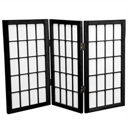 Oriental Desktop Window 3 Pane Shoji Screen in Black