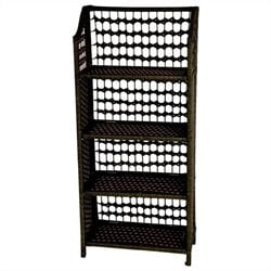 Oriental Furniture 4 Shelf Shelving Unit in Black