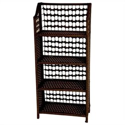 Oriental Furniture 4 Shelf Shelving Unit in Mocha