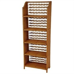 Oriental Furniture 5 Shelf Shelving Unit in Honey