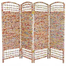 Oriental Recycled Magazine 4 Panel Room Divider