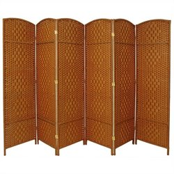 6' Tall Diamond Weave 6 Panel Room Divider
