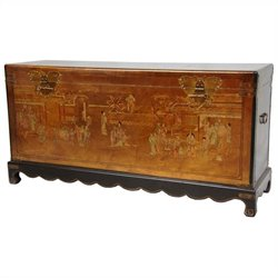 Oriental Furniture Leaf Daily Life Trunk in Gold