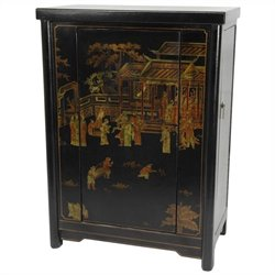 Oriental Furniture Wine Cabinet in Black