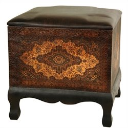 Oriental Furniture Olde-worlde Baroque Ottoman in Brown and Black