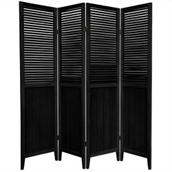 Oriental Beadboard 4 Panel Room Divider in Black