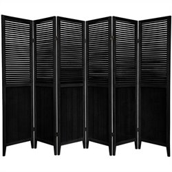 Oriental Beadboard 6 Panel Room Divider in Black