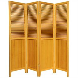 Oriental Beadboard 4 Panel Room Divider in Honey
