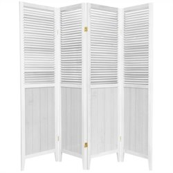 Oriental Beadboard 4 Panel Room Divider in White
