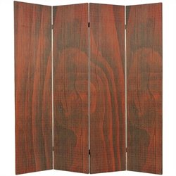 Oriental Frameless Room Divider with 4 Panel in Walnut