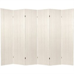 Oriental Frameless Room Divider with 6 Panel in White