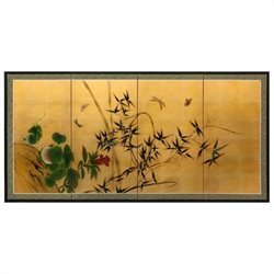 Oriental Furniture 4 Panel Screen in Gold