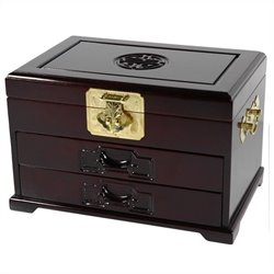 Oriental Furniture Jewelry Box with 2 Drawers in Rosewood