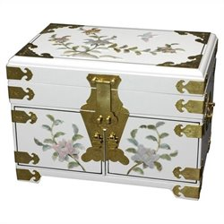 Oriental Furniture Daisi Jewelry Box in White
